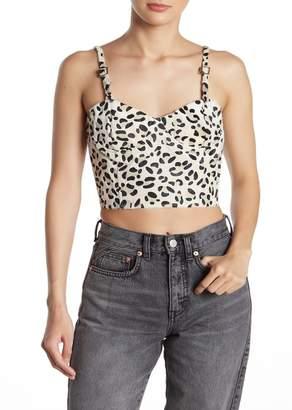 Wild Honey Leopard Print Faux Hair Bustier Crop Top