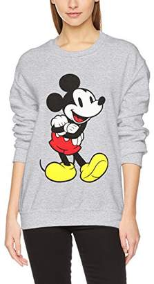Disney Women's Mouse Classic Mickey Crew Neck Long Sleeve Sweatshirt,(Size: X-Large)