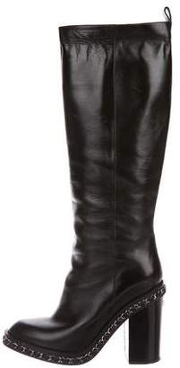 Chanel Chain-Link Mid-Calf Boots