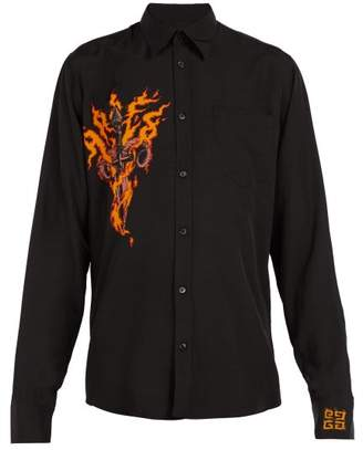 Givenchy Flaming Dagger Print Shirt - Mens - Black