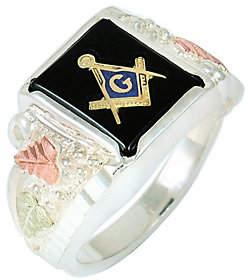 Black Hills Men's Masonic Onyx Ring, Sterling Silver/12K Gold