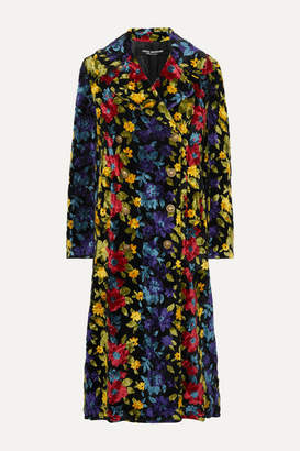 Junya Watanabe Double-breasted Floral-jacquard Coat - Black