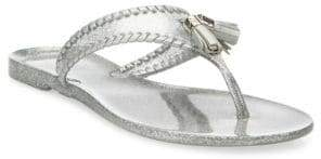 Jack Rogers Jr Alana Sparkle Whipstitch Jelly Tassel Thong Sandals