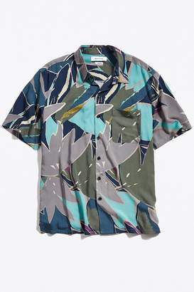 Urban Outfitters '80s Print Rayon Short Sleeve Button-Down Shirt