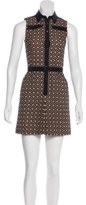 Akris Punto Embroidered Sleeveless Mini Dress