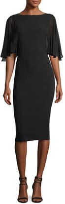 Michael Kors Chiffon-Sleeve Virgin Wool Crepe Sheath Dress