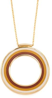 Marni Striped Circle Pendant Necklace - Womens - Brown