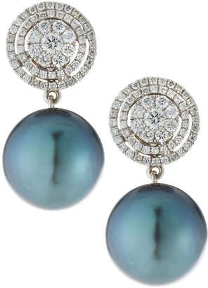 Belpearl 18k White Gold Diamond-Circle & Tahitian Pearl Earrings