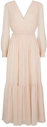 Sandro Pleated Sparkle Midi Dress