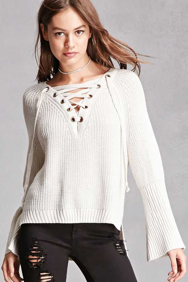 FOREVER 21+ Haute Rogue Lace-Up Sweater