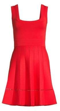Herve Leger Women's Pleated Fit-&-Flare Dress - Cora Lpoppy - Size Large
