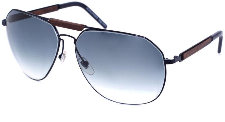 Alexander McQueen Dark Blue Aviator Sunglasses