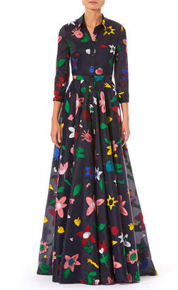 Carolina Herrera 3/4-Sleeve Button-Front Floral-Embroidered Full Evening Gown