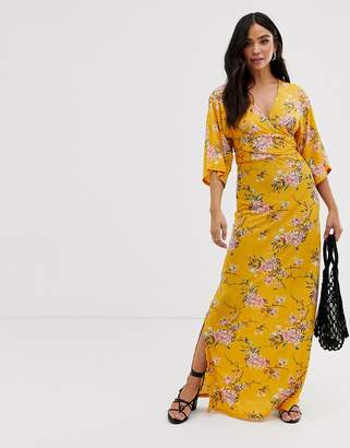 Qed London QED London wrap front maxi dress in floral print