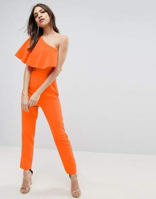 Asos One Shoulder Ruffle Jumpsuit