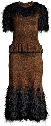 Michael Kors Feather-Embellished Metallic Peplum Dress