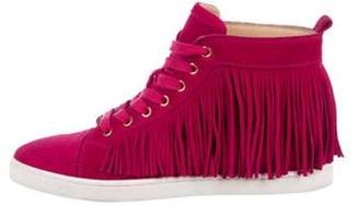 Christian Louboutin Suede High-Top Sneakers Pink Suede High-Top Sneakers