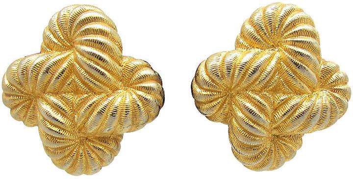 One Kings Lane Vintage Ribbed Coil Design Gold Metal Earrings