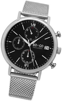 Co SO & Ny Men'S Monticello Chronograph Stainless Steel Mesh Bracelet Black Dial Dress Quartz Watch J160P92