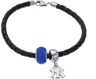 New York Yankees Logoart LogoArtNew York Yankees Crystal Sterling Silver & Leather Charm Bracelet
