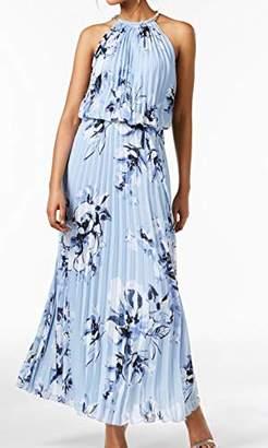 MSK Women's Silver Chain Halter Neck Maxi Woven Pleated Dress