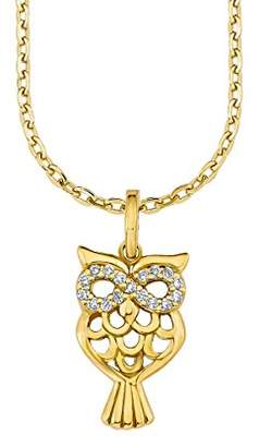 Amor Women's Necklace with Owl Pendant 925 Silver partly Gold-Plated Zirconia White 45 cm – 2016741