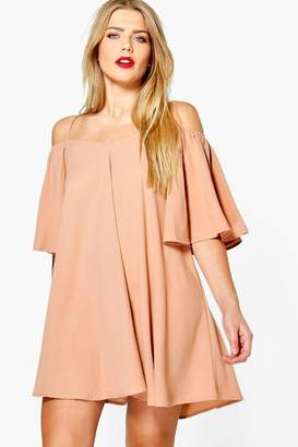 boohoo Plus Open Shoulder Woven Swing Dress