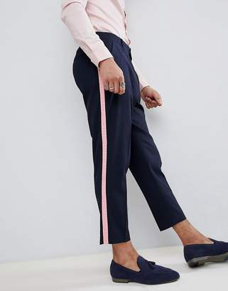 Asos Design DESIGN tapered smart pants in navy with pink frill side stripe