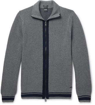 HUGO BOSS Ribbed Virgin Wool Zip-Up Cardigan