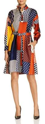 Tory Burch Bianca Patchwork-Print Silk Dress