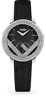 Fendi (フェンディ) - Fendi Fendi Run Away Stainless Steel& Diamond Leather-Strap Watch