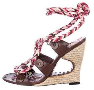 Emilio Pucci Leather Peep-Toe Sandals