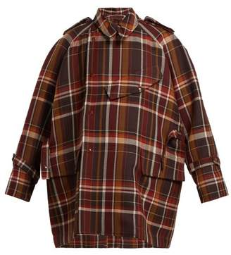 Acne Studios Oversized Checked Wool Blend Coat - Womens - Brown Multi