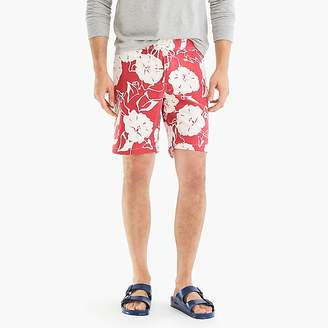 "J.Crew 9"" Stretch Board Short In Red And White Floral"