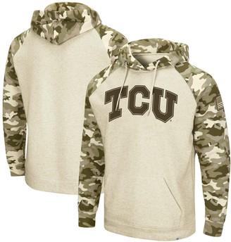 Colosseum Men's Oatmeal TCU Horned Frogs OHT Military Appreciation Desert Camo Raglan Pullover Hoodie