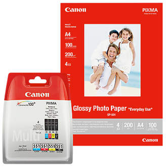 Canon CLI-551 Ink Cartridge Multipack with GP-501 Glossy Photo Paper, 10 x 15cm, 10 Sheets