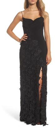 Women's Vera Wang Jersey & Lace Gown $398 thestylecure.com
