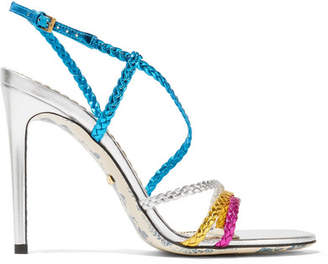 Gucci Haines Braided Metallic Leather Slingback Sandals - Blue