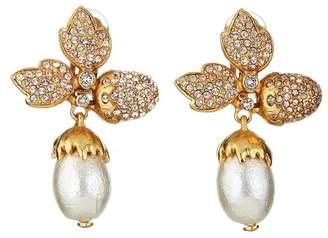 Oscar de la Renta Pave Leaf Acorn Earrings