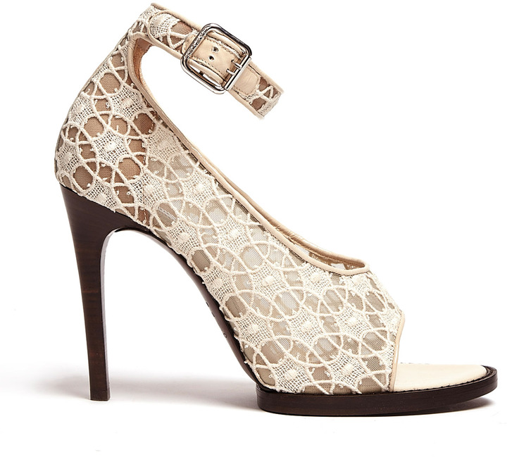 Carven Neutral Lace And Patent Peep Toe High Heels