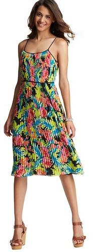 Floral Print Pleated Mid Length Dress
