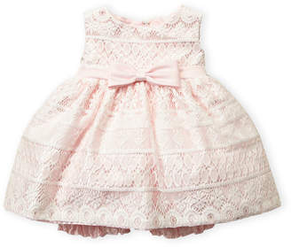 Princess Faith (Infant Girls) Pink Lace Bow Dress