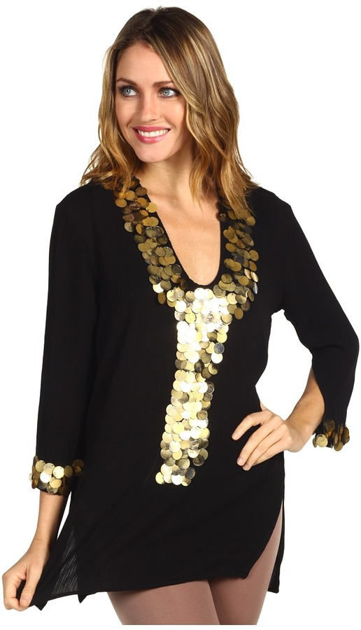 T-Bags Tbags Los Angeles - Beaded Front Tunic (Black) - Apparel