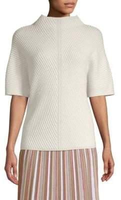 Agnona Ribbed-Knit Short-Sleeve Sweater