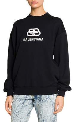 Balenciaga Long-Sleeve BB-Logo Sweatshirt