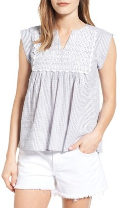 Women's Thml Embroidered Stripe Cotton Babydoll Top $79 thestylecure.com