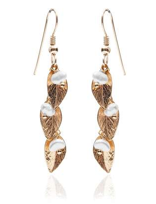 abf0bab60 Harry Rocks - Delilah Leaf Earrings Gold &Pearl