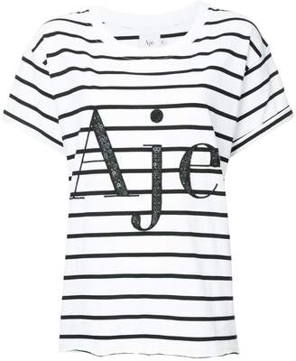 Aje sequin embellished logo striped T-shirt