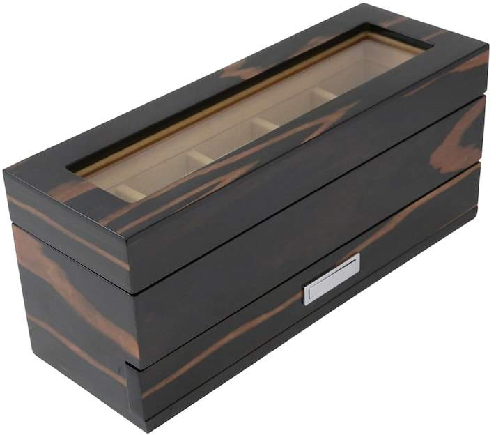 Bey Berk Ebony Wood 5-Slot Watch Storage Box - Men