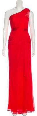 Marchesa One-Shoulder Silk Dress w/ Tags